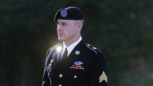 FILE - In this Jan. 12, 2016, file photo, Army Sgt. Bowe Bergdahl arrives for a pretrial hearing at Fort Bragg, N.C.  Bergdahl, a former prisoner of war accused of endangering his U.S. comrades by walking off his post in Afghanistan is asking President Barack Obama to pardon him before leaving office. White House and Justice Department officials say  Bergdahl submitted the clemency request. If granted, it would allow Bergdahl to avert a court-martial trial scheduled for April. He faces charges carrying a maximum penalty of life in prison.
