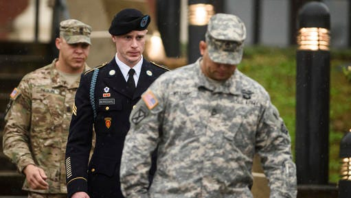 FILE - In this Tuesday, Dec. 22, 2015, file photo, U.S. Army Sgt. Bowe Bergdahl leaves the courthouse after his arraignment hearing at Fort Bragg, N.C. A lawyer for an Oscar-winning screenwriter says the U.S. Army dropped its efforts to seize unaired interviews he recorded with Bergdahl. Attorney Jean-Paul Jassy said Tuesday, Dec. 13, 2016, that Mark Boal settled a lawsuit to prevent the government from obtaining 25 hours of recordings with the soldier who abandoned his post in Afghanistan in 2009.