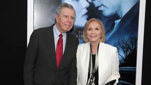 """FILE - In this Feb. 11, 2014 file photo, actress Eva Marie Saint, right, poses with her husband, writer/director/producer Jeffrey Hayden at the world premiere of """"Winter's Tale"""" in New York. Hayden died at his Los Angeles home on Dec. 24, 2016. He was 90."""