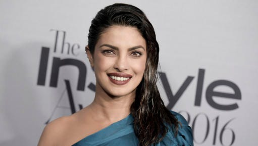 "FILE - This Oct. 24, 2016 file photo shows actress Priyanka Chopra at the 2nd Annual InStyle Awards in Los Angeles. ABC says Chopra is ""home resting comfortably"" after being injured on the set of the action-thriller series ""Quantico"" on Thursday, Jan. 12, 2017."