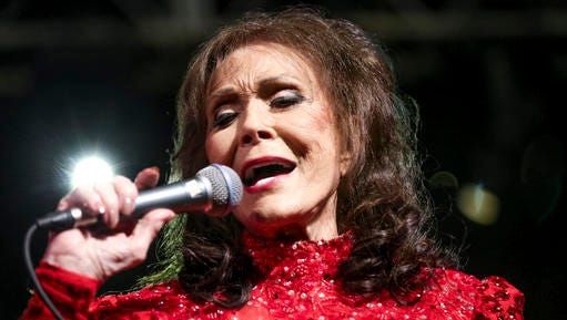 FILE - In this March 17, 2016 file photo, Loretta Lynn performs at the BBC Music Showcase at Stubb's during South By Southwest in Austin, Texas. The Country Music Hall of Fame and Museum will feature exhibits on Lynn, Faith Hill and Tim McGraw, Jason Aldean, and Shania Twain in 2017. The museum announced Friday, Jan. 13, 2017 their slate of exhibitions for the new year, which also includes a new exhibition called American Currents, focusing on music from 2016.