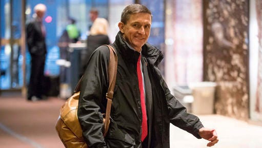 FILE - In this Jan. 3, 2017 file photo, National Security Adviser-designate Michael Flynn arrives at Trump Tower in New York. Some of President-elect Donald Trump's most important Cabinet choices are at odds with him on matters that were dear to his heart as a campaigner and central to his promises to supporters. For the Pentagon, the CIA, the State Department and more, Trump has picked people who publicly disagree with him on some cornerstones of his agenda In confirmation hearings.
