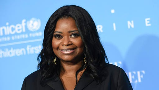 FILE - This Nov. 29, 2016, file photo shows Octavia Spencer at the 12th Annual UNICEF Snowflake Ball in New York. Fresh off her second Oscar nomination, Spencer has signed up to talk with Gloria Steinem about the progress of women of color in Hollywood and the recent Women's March at the third Makers conference, to be held in Los Angeles on Feb. 6-8, 2017.