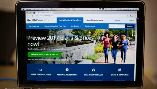 "FILE - In this Oct. 24, 2016 file photo, the HealthCare.gov 2017 web site home page is seen on a laptop in Washington. Though ""Obamacare"" still divides Americans, a majority worries many will lose coverage if the 2010 law is repealed in the nation's long-running political standoff over health care. A new poll by the Associated Press-NORC Center for Public Affairs Research finds that 56 percent of U.S. adults are ""extremely"" or ""very"" concerned that many will lose health insurance if the health overhaul is repealed. That includes more than 8 in 10 Democrats, nearly half of independents, and more than 1 in 5 Republicans. Another 45 percent of Republicans say they're ""somewhat"" concerned."