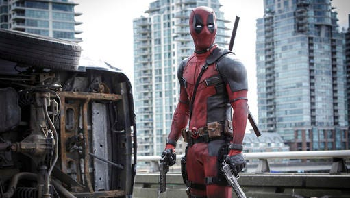 """This image released by Twentieth Century Fox shows Ryan Reyonlds in a scene from the film, """"Deadpool."""" The popular film failed to receive an Oscar nomination on Tuesday, Jan. 24, 2017."""