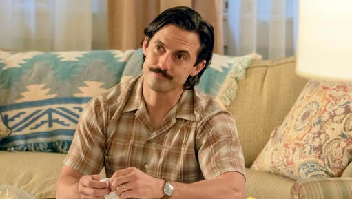 "This image released by NBC shows Milo Ventimiglia in a scene from the series, ""This Is Us."""