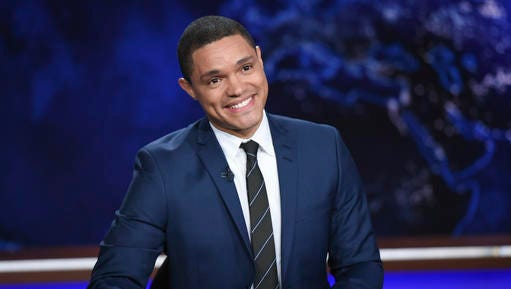 "In this Sept. 29, 2015, file photo, Trevor Noah appears during a taping of ""The Daily Show with Trevor Noah"" on Comedy Central."