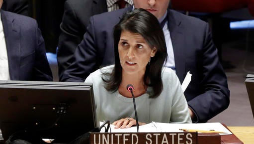 The new U.S. Ambassador to the U.N. Nikki Haley, addresses a Security Council meeting of the United Nations, Thursday, Feb. 2, 2017.
