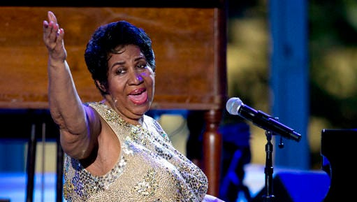 """FILE - In this April 29, 2016 file photo, Aretha Franklin performs at the International Jazz Day Concert on the South Lawn of the White House of the Washington. Franklin is planning to retire this year.  The singer says she has one more album planned, with several tracks produced by Stevie Wonder, and will otherwise limit herself to """"some select things"""" as she devotes more time to her grandchildren."""