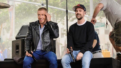 "FILE - This June 23, 2016 file photo shows Ben Haggerty, left, and Ryan Lewis, of Macklemore & Ryan Lewis, on NBC's ""Today"" show in New York.  The mainstream rap duo that swept the rap Grammys in 2014 and received backlash after besting Kendrick Lamar, didn't submit their latest album for contention at the 2017 Grammy Awards. (Photo by Christopher Smith/Invision/AP, File)"