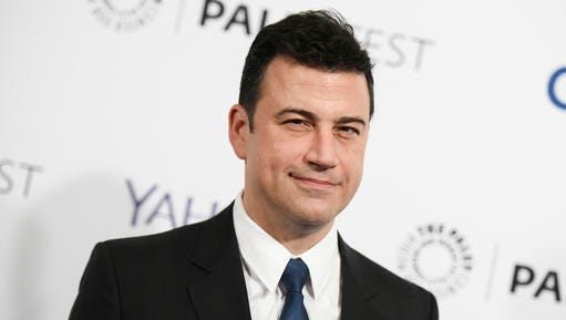 """FILE - In this March 8, 2015, file photo, Jimmy Kimmel arrives at the 32nd Annual Paleyfest : """"Scandal"""" held at The Dolby Theatre in Los Angeles. Kimmel, who has twice hosted the Emmy Awards, will make his Oscars debut on Sunday, Feb. 26, 2017. He talked with the AP about his preparations, his pre-show rituals and what role politics might play that night."""