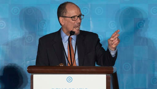 Former Labor Secretary Tom Perez, who is a candidate to run the Democratic National Committee, speaks during the general session of the DNC winter meeting in Atlanta, Saturday, Feb. 25, 2017.