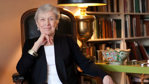 """FILE - In this March 24, 2011 photo, author Paula Fox poses for a portrait in New York. Fox, known for the novels """"Desperate Characters"""" and """"Poor George"""" and the memoir """"Borrowed Finery."""" died Wednesday, March 1, 2017, at Brooklyn Methodist Hospital. She was 93 and had been in failing health."""