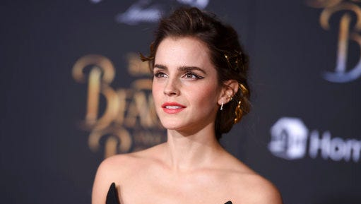 """Emma Watson arrives at the world premiere of """"Beauty and the Beast"""" at the El Capitan Theatre on Thursday, March 2, 2017, in Los Angeles."""