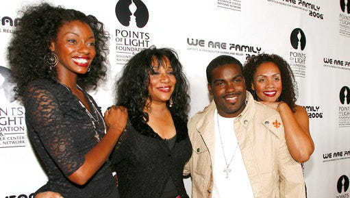 "File- This Aug. 14, 2006 file photo shows Joni Sledge, one of the original members of ""Sister Sledge,"" second from left, posing with Rodney Jerkins, second from right, her niece Camille Sledge, left, and her cousin Amber Sledge at the ""We Are Family 2006 - All-Star Katrina Benefit CD and Documentary DVD Launch"" in Century City, Calif. Sledge, who with her sisters recorded the defining dance anthem ""We Are Family,"" has died, the band's representative says. She was 60. Sledge was found dead in her home by a friend in Phoenix, Arizona, on Friday, the band's publicist, Biff Warren, said Saturday, March 11, 2017. A cause of death has not been determined."