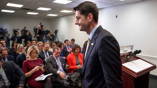 House Speaker Paul Ryan of Wis. leaves a news conference following a GOP party conference at the Capitol, Wednesday, March 15, 2017, in Washington.
