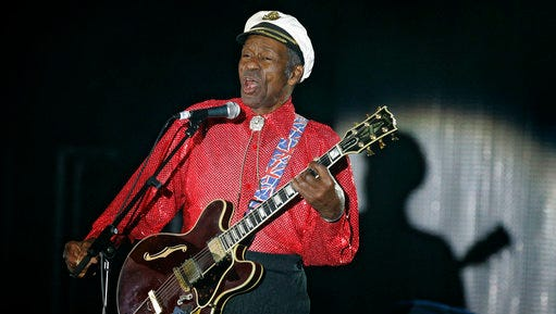 """FILE - In this Saturday, March 28, 2009 file photo, American guitarist, singer and songwriter Chuck Berry performs during the """"Rose Ball"""" in Monaco. On Saturday, March 18, 2017, police in Missouri said Berry has died at age 90."""