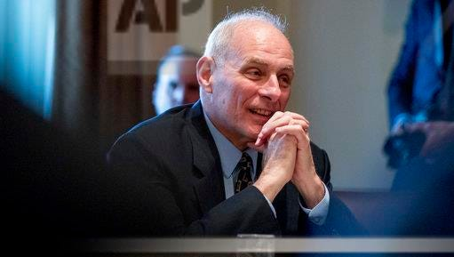 In this photo taken March 13, 2017, Homeland Security Secretary John Kelly is seen in the Cabinet Room at the White House in Washington. The Trump administration is naming some names in its efforts to shame local jails that don't cooperate with immigration authorities. It's putting the spotlight on Travis County, Texas, home of liberal Austin. (AP Photo/Andrew Harnik, File)