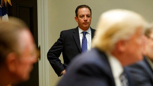 White House Chief of Staff Reince Priebus watches a meeting between President Donald Trump and the Fraternal Order of Police, Tuesday, March 28, 2017, in the Roosevelt Room of the White House in Washington.