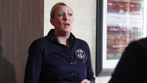 NTSB Investigator in Charge Jennifer Morrison speaks to reporters about the church bus crash that killed 13 congregants in Uvalde County on Wednesday, March 29, 2017. Morrison spoke during a press conference in Uvalde, Texas., on Friday March 31, 2017. (Juanito M. Garza /The San Antonio Express-News via AP)