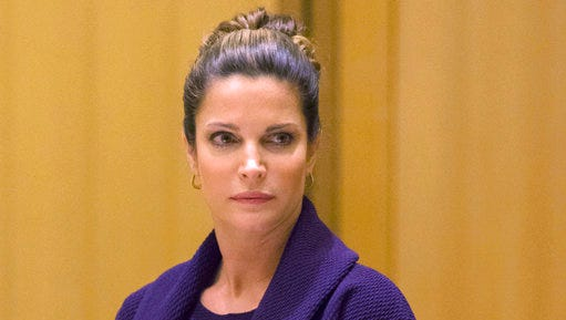 FILE - In this April 4, 2016 file photo, Stephanie Seymour appears  Superior Court in the Stamford, Conn., for a hearing on her February 2016 drunken driving charges. On Tuesday, April 4, 2017, charges were dropped after the former supermodel completed a year-long program for first-time offenders.
