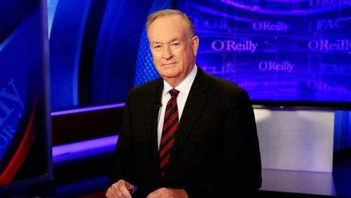"""FILE - In this Oct. 1, 2015 file photo, host Bill O'Reilly of """"The O'Reilly Factor"""" on the Fox News Channel, poses for photos in the set in New York.  More advertisers have joined the list of defectors from Fox's The O'Reilly Factor show bringing the total to around 20.  The New York Times had revealed over the weekend that Fox News' parent company had paid settlements totaling $13 million to five women to keep quiet about alleged mistreatment at the hands of Fox's prime-time star. O'Reilly has denied wrongdoing and said he supported the settlements so his family wouldn't be hurt. The news has sparked an exodus of advertisers telling Fox they didn't want to be involved in O'Reilly's show."""