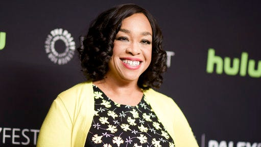 """FILE - In this March 15, 2016 file photo, Shonda Rhimes attends the 33rd Annual Paleyfest: """"Scandal"""" event in Los Angeles. Rhimes told Elle magazine for a story published online on April 6, 2017, that she is joining the national board of Planned Parenthood."""