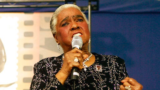 "FILE - In this Jan. 25, 2006 file photo, jazz and blues singer Linda Hopkins performs during a ceremony unveiling a new postage stamp honoring Hattie McDaniel, the first African American to win an Academy Award for her role in ""Gone With the Wind,""in Beverly Hills, Calif. Hopkins, who won a Tony Award in 1972 for the musical ""Inner City,"" has died Monday, April 10, 2017, in Milwaukee, Wis., according to her great-niece Hazel Lindsey. She was 92."