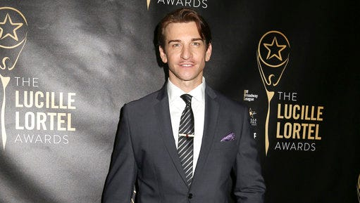 """FILE - In this May 10, 2015 file photo, Andy Karl attends the 30th Annual Lucille Lortel Awards at the NYU Skirball Center in New York. Producers of the Broadway musical """"Groundhog Day"""" say it will open as planned, but injured star Karl's status is unclear. Karl hurt himself during a preview performance Friday, April 14, 2017, forcing the cancellation of Saturday's matinee."""