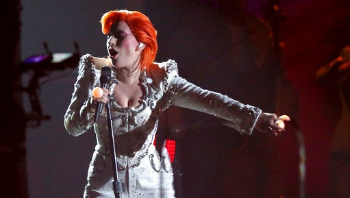 FILE - In this Feb. 15, 2016, file photo, Lady Gaga performs a tribute to David Bowie at the 58th annual Grammy Awards in Los Angeles. Gaga's tribute won a pair of Webby Awards announced on April 25, 2017.