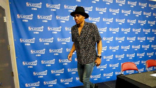 Oklahoma City Thunder's Russell Westbrook leaves the interview room after Game 5 of the team's NBA basketball first-round playoff series against the Houston Rockets, Tuesday, April 25, 2017, in Houston. The Rockets won 105-99 and took the series.