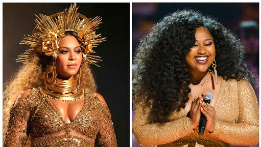 "In this combination photo, Beyonce performs at the 59th annual Grammy Awards on Feb. 12, 2017, in Los Angeles, left, and  Jazmine Sullivan appears at 2016 Black Girls Rock! on April, 1, 2016 in Newark, N.J. Sullivan, who has written four tracks on Mary J. Blige's new album, ""Strength of a Woman,"" said she is hoping to get in the studio and pen a song for Beyonce."