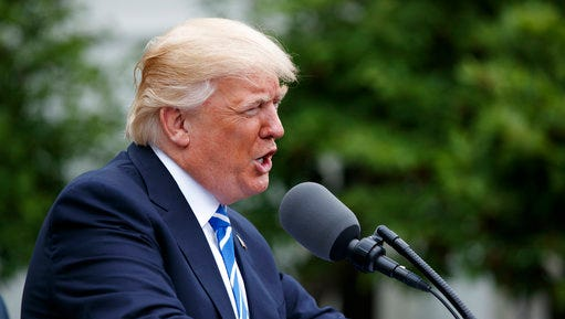 President Donald Trump speaks in the Kennedy Garden of the White House in Washington, Monday, May 1, 2017, to the Independent Community Bankers Association.