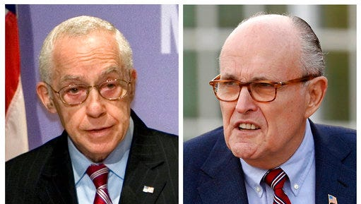 FILE - In this combination of file photos, then Attorney General Michael Mukasey, left, speaks at the U.S. Holocaust Memorial Museum in Washington on Dec. 16, 2008 and former New York Mayor Rudy Giuliani arrives for meetings with President-elect Donald Trump on Nov. 20, 2016, in Bedminster, N.J. A judge said Tuesday, May 2, 2017, that Giuliani and Mukasey seem dismissive of serious charges lodged against a prominent Turkish businessman they've been hired to represent.