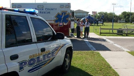 Paramedics took two skydivers to the hospital after an accident in Sebastian Saturday.