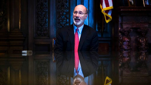 Pennsylvania Gov. Tom Wolf speaks during an interview with The Associated Press at his office in Harrisburg, Tuesday, Jan. 2, 2018. Pennsylvania state government agencies fielded over 300 reports of alleged sexual harassment over a recent five-year period, according to data released Tuesday. Wolf's administration provided the breakdown for agencies under his jurisdiction to AP in response to a Right-to-Know Law request.