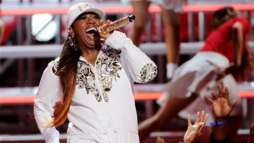 In this file photo, Missy Elliott performs at the BET Awards at the Nokia Theatre, in Los Angeles. BET and Centric announced Monday  that Elliott, Lil Kim and Da Brat will take the stage Nov. 7, when the Soul Train Awards tapes at the Orleans Arena in Las Vegas.