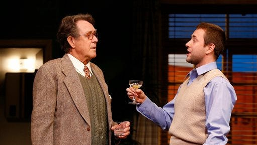 "In this image released by David Gersten & Sam Rudy Media, Larry Pine, left, and Vincent Kartheiser perform in a scene from ""Billy & Ray"", at the Vineyard Theatre in New York.  (AP Photo/David Gersten & Sam Rudy, Carol Rosegg)"
