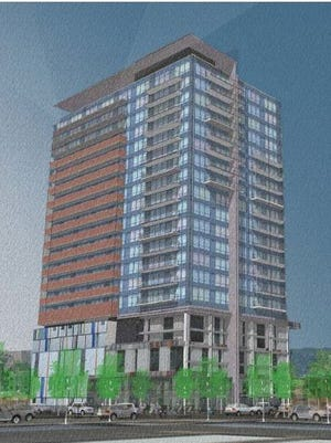Rendering of Derby Roosevelt Row, a development proposed for Second and McKinley streets in Phoenix.