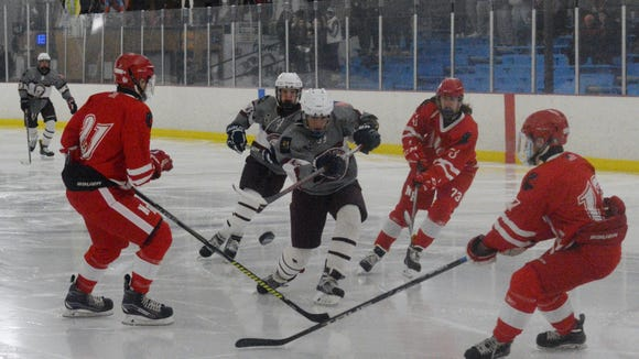Scarsdale's D.J. Matusz gets a shot on goal before