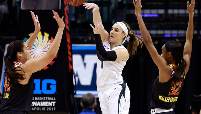 Michigan State guard Tori Jankoska passes the basketball in between Maryland center Brionna Jones, left, and Maryland guard Shatori Walker-Kimbrough, right, during the first half of their Big Ten tournament game earlier this month. MSU will likely be in the 8 to 10 seed range when the women's NCAA field is unveiled Monday.