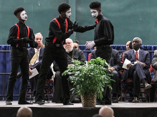 Next Generation, a praise dance group from Piney Grove Baptist Church in Sandy Springs, performs Monday at the birthday celebration for the Rev. Martin Luther King Jr. at the Civic Center of Anderson.
