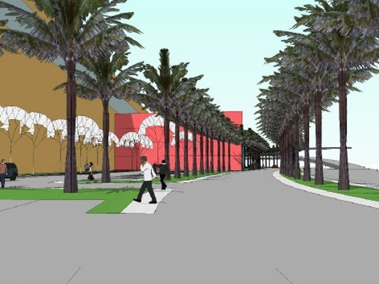 Preliminary designs show what the new arena and field house development would look like on the current site of the Pensacola Bay Center.