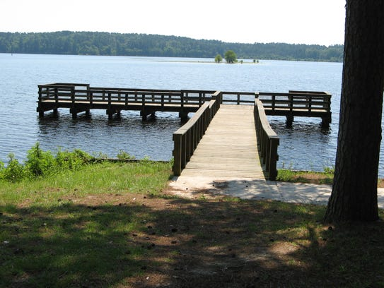A pier on Corney Lake at Kisatchie National Forest