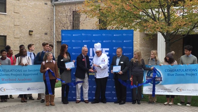 Wayland Academy recently received dual recognition as both a Blue Zones Project Approved restaurant and a Blue Zones Project Approved school. A ribbon-cutting ceremony was held on Oct. 12.