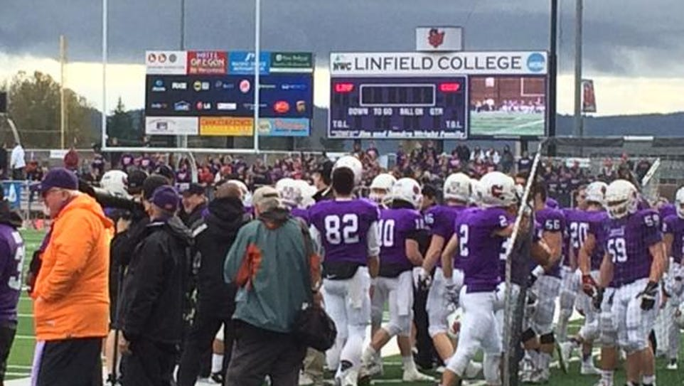 Linfield players honored Parker Moore during Saturday's