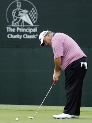 Guy Boros putts on the 17th green during the final round of the Principal Charity Classic. Boros finished in a tie for 10th, his best Champions Tour finish.