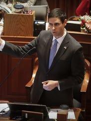 Iowa state Sen. Nate Boulton, D-Des Moines, gives a