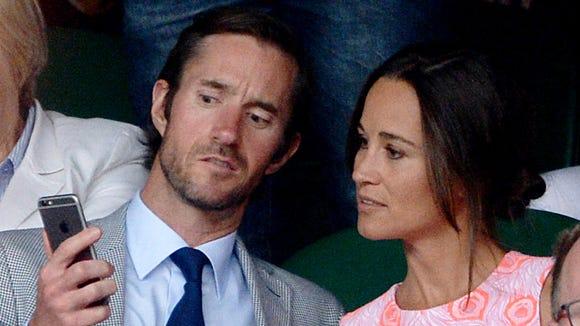 Pippa Middleton and fiance James Matthews in July at Wimbledon.