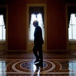 Senate Majority Leader Mitch McConnell arrives on Capitol Hill in Washington on Monday before debate continues in the Senate on renewing the Patriot Act.